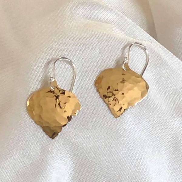 Hammered Red Brass Aspen Leaf Earrings