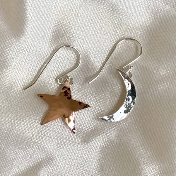 Sterling and Copper Moon & Star Earrings
