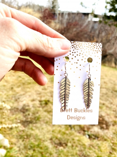 Sterling Silver Feather Earrings - large