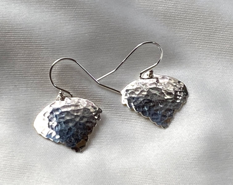 Hammered Sterling Silver Aspen Leaf Earrings