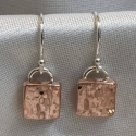 Hammered Copper Square Earrings - small