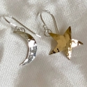 Sterling and Red Brass Moon & Star Earrings