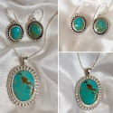 Sterling Silver and Kingman Turquoise Earrings and Pendant Set