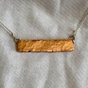 Hammered Copper Bar Necklace - horizontal