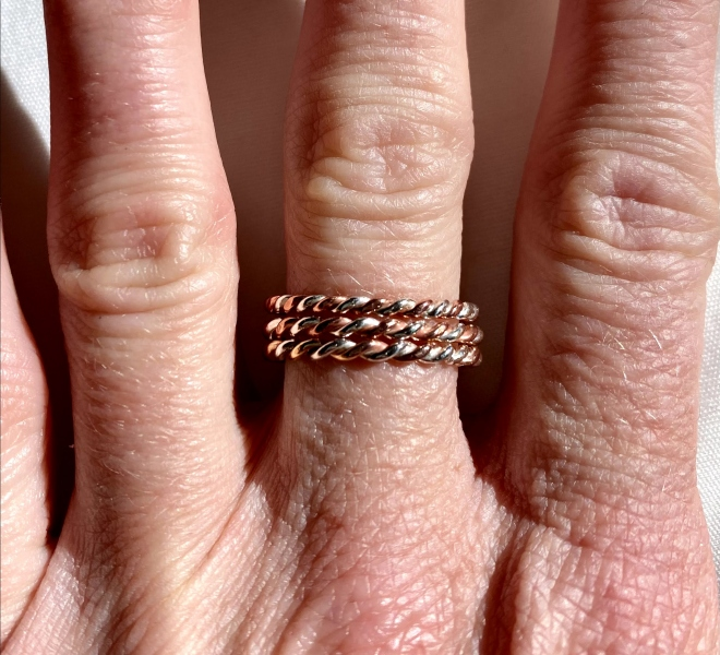 Copper and Sterling Silver Combo Stacker Rings