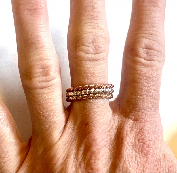 Copper, Sterling Silver, Red Brass Stacker Rings