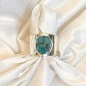 Sterling Silver and Kingman Turquoise Cigar Band Ring