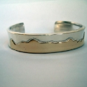 Flat tops SS and 14K Gold Mountain Bracelet