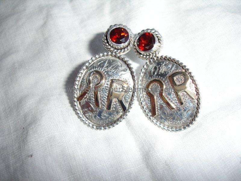 custom brand earrings with garnets