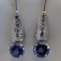 14k White engraved dangle earrings with 8mm Tansanite