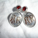 custom brand earrings with garnets