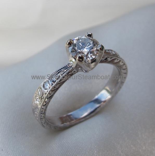 14K white engagement ring