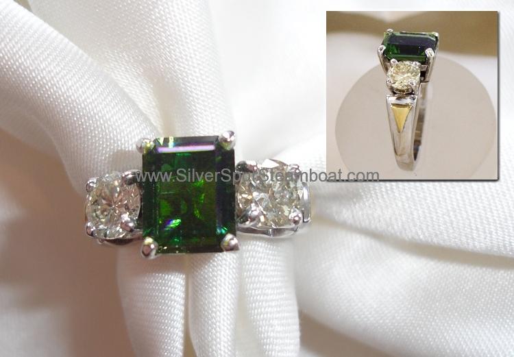 Tourmaline Diamind 14kW engagement ring