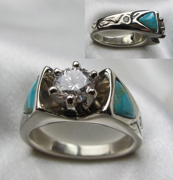 Diamond Turq wedding ring