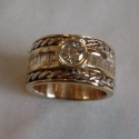 14k Two toned wide Diamond band