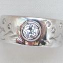 14k White Diamond Wedding Band