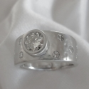 14K white gold Textured Engagement Ring