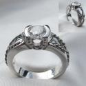 14K White Horseshoe Engagement ring