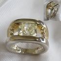 14k white and 18K yellow radiant yellow Diamond ring