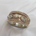 14K Yellow and White diamond band