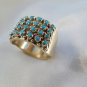 14 K yellow gold and turquoise ring