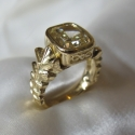 18K Gold Leaf ring with antique cush fancy yellow Diamondion