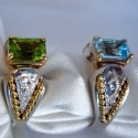 Sterling with 18k saddle ring with many precious stone opt.