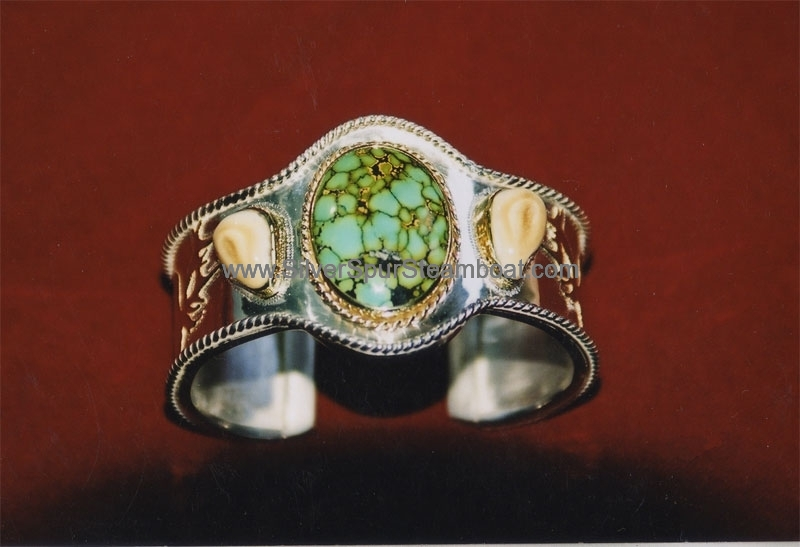 Sterling Silver And 14K Gold Turquoise Elk Tooth Cuff Bracelet