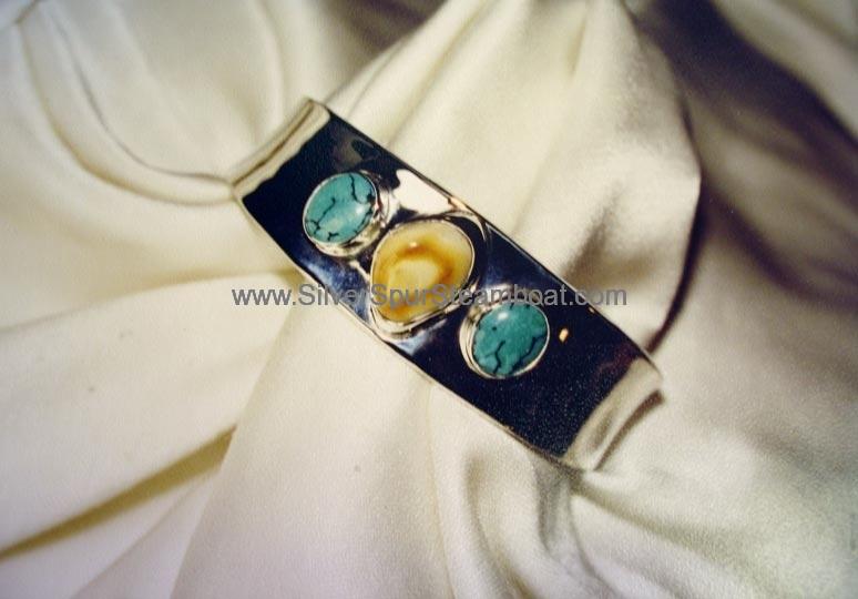 Turquoise and Elk Ivory Bracelet
