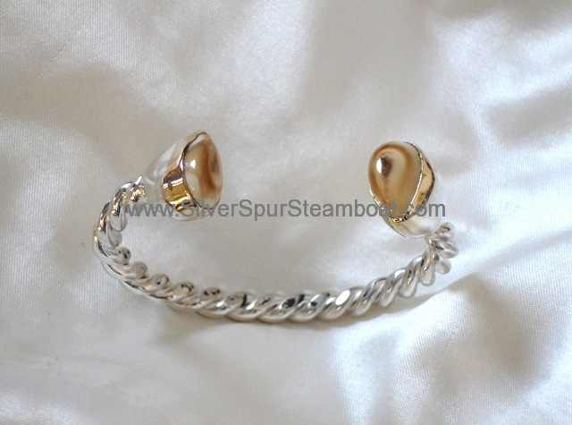 Sterling Silver Twisted wire and 14k Elk Ivory Cuff Bracelet