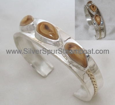 Beautiful narrow two toned Silver and Gild Elk tooth Ivory Bracelet