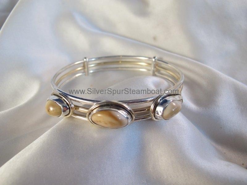 Sterling Silver and 14k Gold Elk Ivory Bangle Bracelet