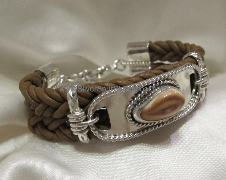 leather style sterling tag Ivory Bracelet