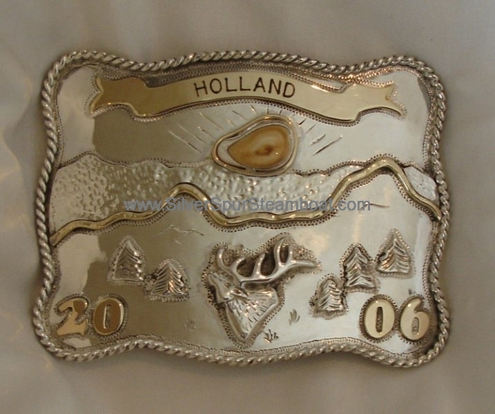 14k and SS Elk Ivory Trophy Belt Buckle