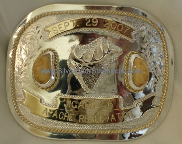 Trophy 14k and SS Elk Ivory Belt Buckle