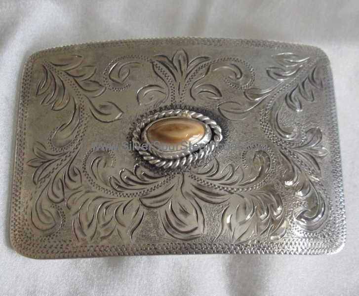Small rectangle Sterling Elk Ivory Buckle