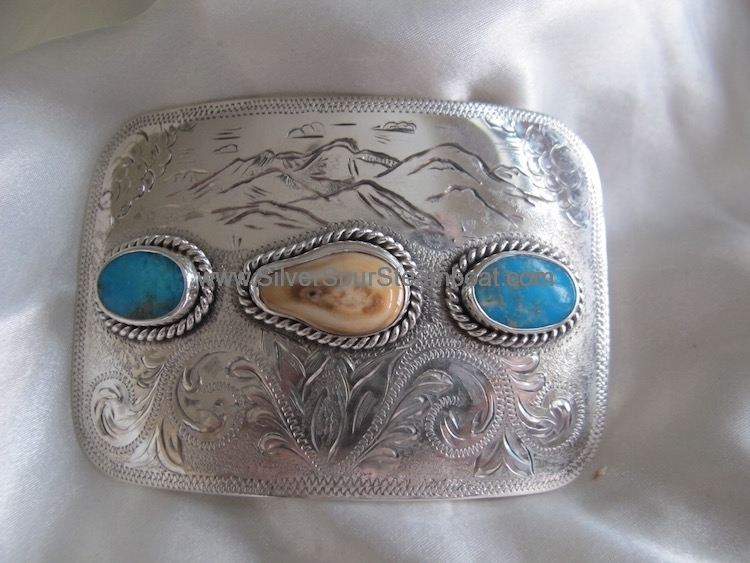 Elk Ivory Trophy Buckle with Turquoise