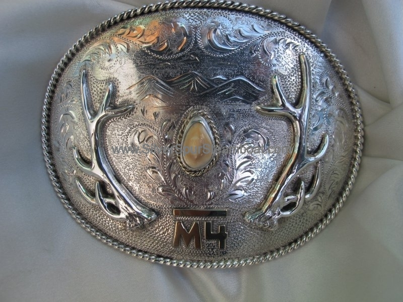 Sterling Silver w/14k Brand Elk Ivory Buckle