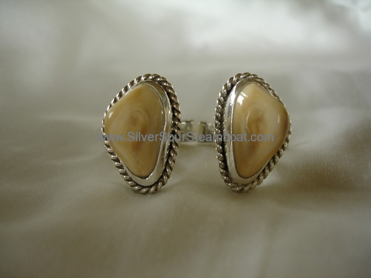 Sterling silver with twisted wire trim Man's Elk Tooth Ivory Cuff Links