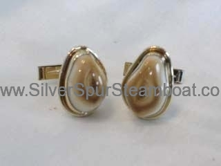 14k Yellow with smooth wire trim Man's Elk tooth Ivory Cuff Links