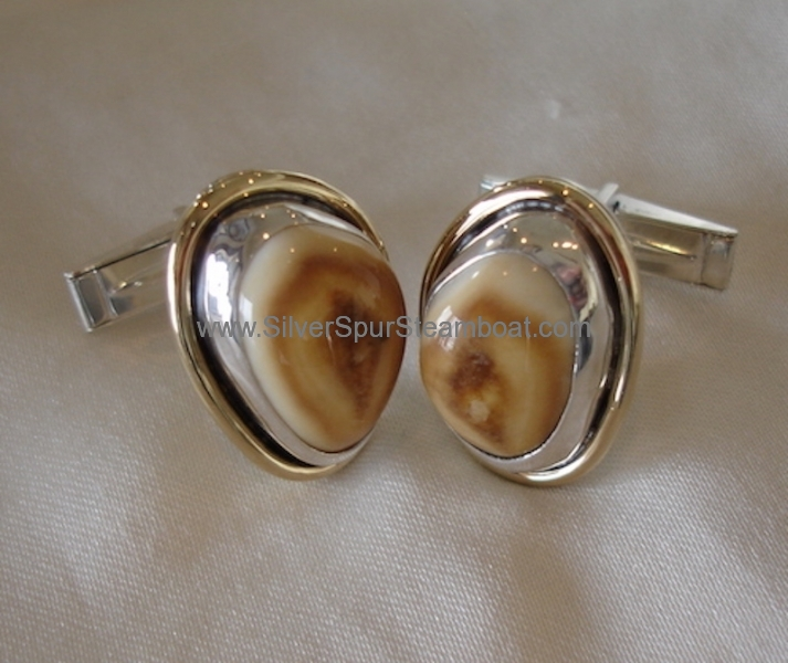 Two toned elk Ivory cufflinks