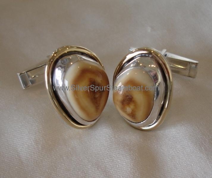 Two toned elk Ivory cufflinks