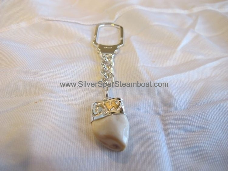 Sterling Silver Elk tooth Ivory key ring with 14ky initials