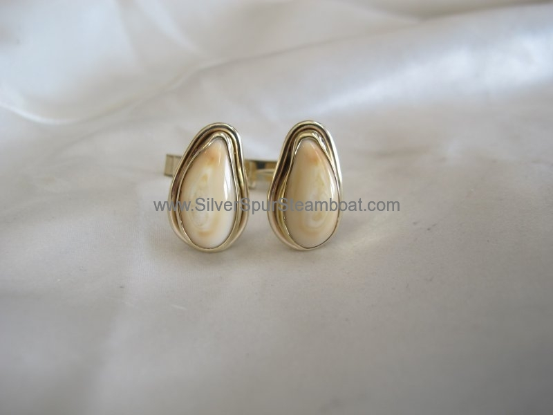SS with 14k Gold smooth wire trim Elk Ivory cuff links
