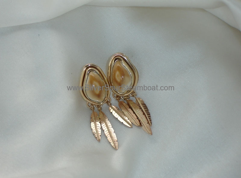 14K gold Elk Ivory Feather earrings