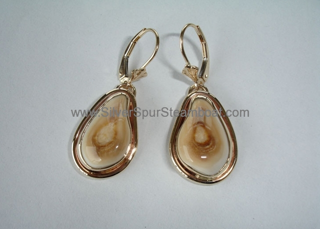 14K Gold DropElk Ivory earrings with a smooth wire trim