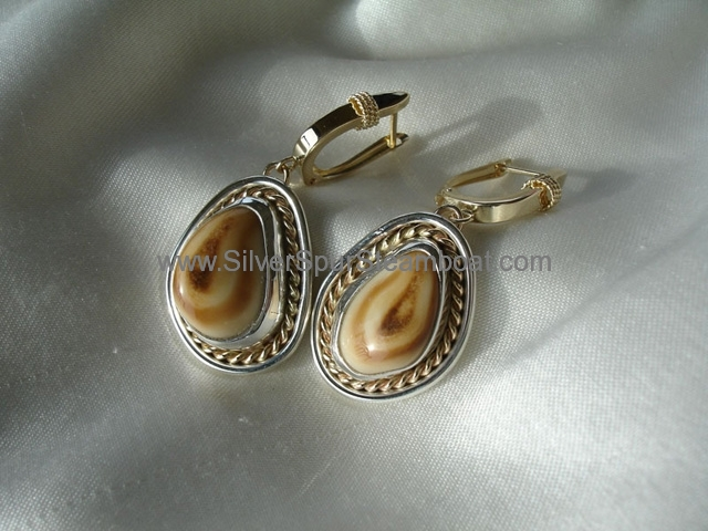 SS with 14k Gold double trim Elk Ivory earrings