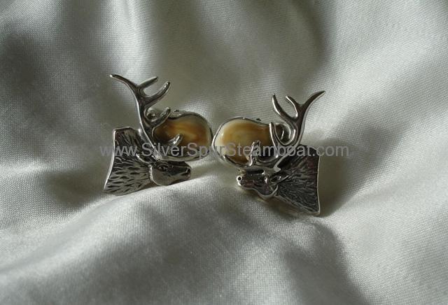 SS Elk head Elk Ivory stud earring