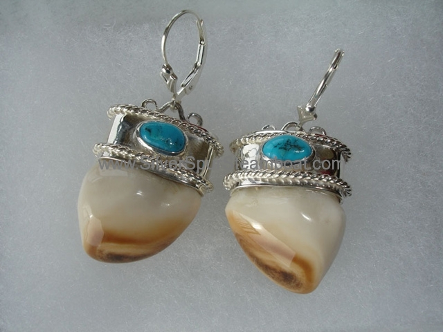 SS capped with double twist and Turquois Elk Ivory earrings
