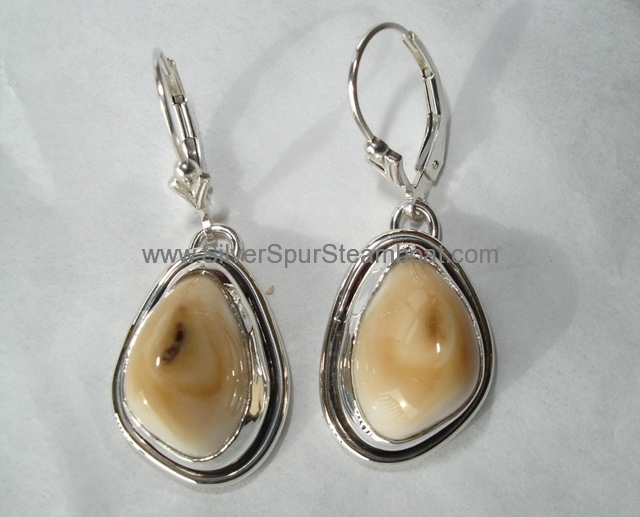 SS smooth wire TrimElk Ivory Earrings